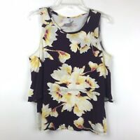 Juicy Couture Womens Size Medium Purple Floral Print Sleeveless Tank Top