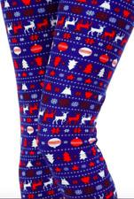 Snowflake Christmas Leggings Blue & Red Moose Nordic Reindeer Print ONE SIZE OS