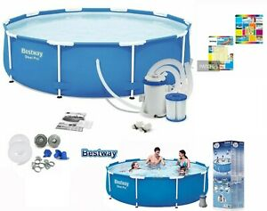 Bestway 10FT 305x76cm Steel Pro-Round Swimming Pool/Pump/Filter/Patch