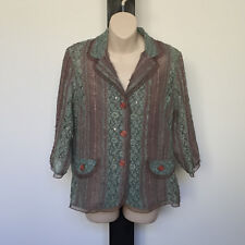 'OLLA OH' EC SIZE 'L'GREEN & TAUPE SHEER LACE BUTTON FRONT 3/4 SLEEVE SEQUIN TOP