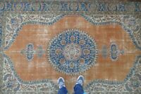 Vintage Turkish Rug,Handwoven Wool Antique Area Rug,Anatolian Carpet 6'5x10'4 ft