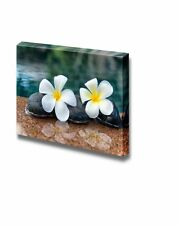 "Canvas- Zen Rocks on an Open Waterfall with Blooming White Petunias- 12"" x 18"""