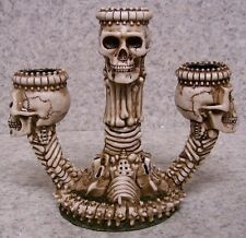 "Candle Holder Ossuary Skelton Halloween NEW for three 3/4"" diameter taper candle"