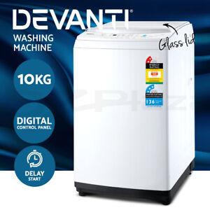 Devanti 10kg Top Load Washing Machine Quick Wash 24h Delay Start Automatic