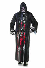 Grim Reaper Skeleton Hooded Photo Real Robe Mens Adult Halloween Costume Robe