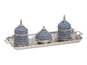 Ottoman Turkish Greek Coffee Set Cups Saucers Bowl Lids Tray Evil Eye Bead Craft