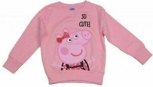 Official Peppa Pig Girls Pink So Cute Sweatshirt Sweater Jumper Top 2 3 4 5 6