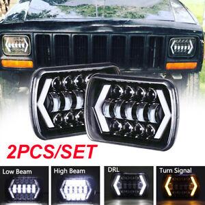 Pair 5x7 7x6'' Inch LED Headlight Hi-Lo Beam DRL Fit for Jeep Cherokee XJ YJ