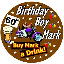 BIKER - FUN PERSONALISED NOVELTY BIRTHDAY BADGE, ANY AGE & NAME / NEW / GIFTS
