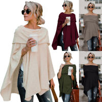 Womens Off Shoulder Irregular Sweater Cloak Poncho Pullover Tops Shirt Blouse