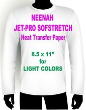 "SOFSTRETCH INKJET IRON ON HEAT TRANSFER PAPER NEENAH JET PRO SS 8.5 X 11"" 25 PK"