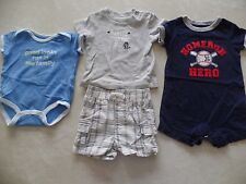 baby boys 4 PIECE LOT 1 pieces outfits BASBEBALL COWBOY shorts rompers 3 MONTHS