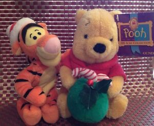 "GUND WINNIE THE POOH STUFFED ANIMAL 7"" DISNEY PLUS Christmas Tigger ~ Mattel"