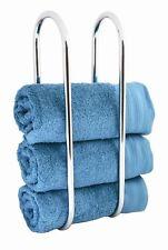 WALL MOUNTED TOWEL RAIL HOLDER SHELF BATHROOM STORAGE RACK UNIT STAND CHROME