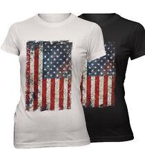 ★Damen Slim T-Shirt Vintage USA Flagge Grunge Rock Amerika Flag Neu UGG115★