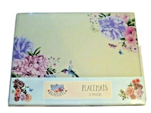 Blooming Beautiful Glass Humming Bird Flower Set of 2 Placemats Gift Boxed