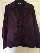 Klass Collection purple satin effect vintage style blouse with ruff detail