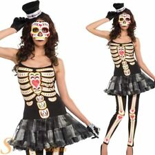 Ladies Day Of The Dead Skeleton Tutu Costume Voodoo Halloween Fancy Dress Outfit