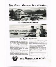 1951 Milwaukee Road Olympian Hiawatha Passenger Train art Vtg Print Ad