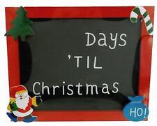 Kids Small Hanging Xmas Blackboard + Chalk Days Til Christmas Countdown 19x16cm