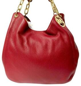 🌞MICHAEL KORS FULTON CHERRY RED GOLD CHAIN LARGE LEATHER SHOULDER TOTE BAG🌺NWT