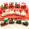 Christmas Wooden Train Xmas Tree Santa Snowman Home Decor Table Ornament Gifts