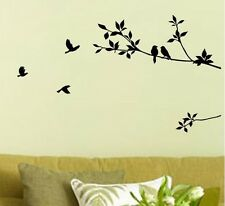 BLACK BIRD TREE LEAF Wall Stickers Decal Removable Home Decor Mural Art Vinyl