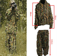 3D Leaves Camo Poncho Cloak Stealth Ghillie Suits Outdoor Woodland CS Clothing A