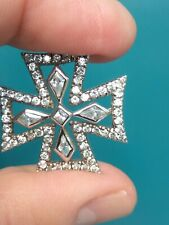 Biker Iron Cross White Cubic Zirconia  .925 Sterling Silver Pendant Vintage Rare