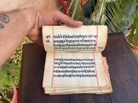 16th c Rare Ancient Hand Written Hindu Religious Shiva Purana Manuscript Book
