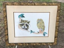 "ROBERT MARBLE Vintage ""OWL & RACCOON"" Hand Signed Framed Serigraph Animal Art"
