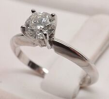 14kt WHITE GOLD SOLITAIRE 1/2 cttw LADIES DIAMOND ENGAGEMENT RING Size 5-1/4