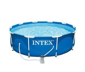 "Intex 10' X 30"" Metal Frame Swimming Pool with 330 GPH Filter Pump 28201EH"