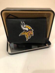 NIB Minnesota Vikings Leather Embroidered Tri-fold Wallet $32.99