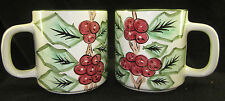 2 Hand Painted Holly Berry Mugs World Bazaars