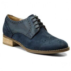 Clarks Ladies Netley Rose Navy Combi Leather Brogue Shoes Size UK 5/38 D