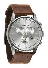 **BRAND NEW** NIXON WATCH THE SENTRY CHRONO LEATHER SADDLE GATOR A4051888 NIB!