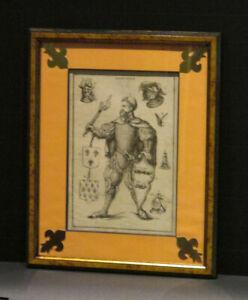 Bel encadrement gravure 18e Chevalier héraldique Armoiries XVIII siècle France