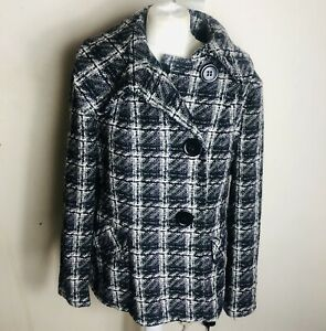 Ladies Black & White Check Winter wool mix Coat Size 16 By Collection Debenhams