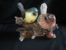 """Figurine  Song Birds on Log Hand Painted Collectible 6"""" tall x 8"""" long x 4"""" wide"""