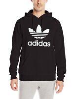 Mens Adidas Hoodie Trefoil Sweatshirt Pullover Lotus 90's Black S M L XL Unisex
