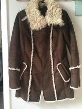 Laundry By Shelli Segal Women's Brown Shearling Zip-Up Coat, Size M.
