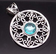 """Celtic Sun Light Blue Silver Tone Pewter Pendant with 20"""" Necklace PP#264"""