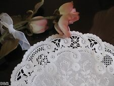 "25 PCS ❤ 8"" INCH WHITE PAPER FRENCH LACE FANCY CRAFT DOILY ROUND WEDDING RETIRED"