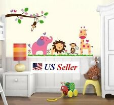 Jungle Animals Fun Zoo Monkey Giraffe Lion Wall Sticker Nursery Kids Room Decal