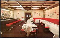 NYC NY Le Manoir French Restaurant Interior View & Bar Vintage City Postcard PC