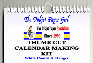 A4 Blank Calendar Making Kit Any Year DIY Landscape 200g White Hanger & Binders