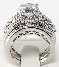 Elaborate Halo 4.25 CT. Cubic Zirconia Bridal Wedding 3 PC. Ring Set - SIZE 9