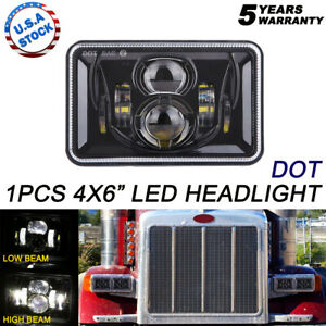 "1x DOT 4x6"" inch Hi-Lo Projector LED Headlight to Chevy Mercury Plym Pontiac"