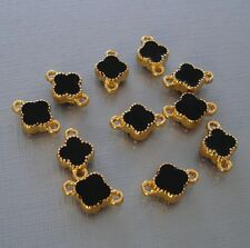 Clover Connector Gold Plated Black Enamel Double Sided Pendant Charm (6 pcs).